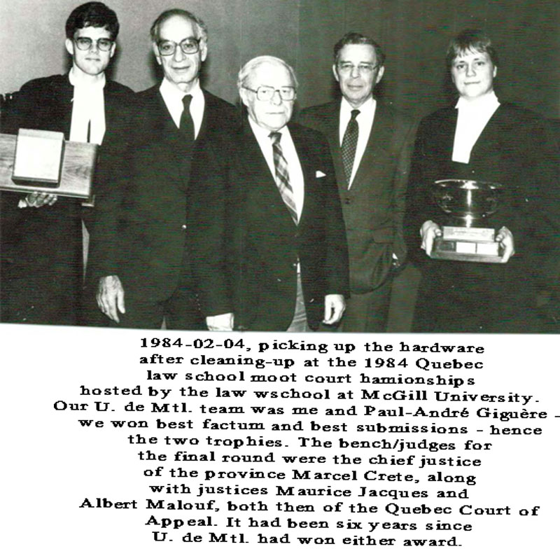 1984 Quebec Moot Court Champion!