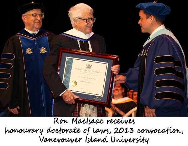 Ron MacIsaac receives hon. degree from UVI, 2013.