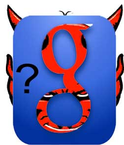 "Google search logo with Devil in background + ""?"""
