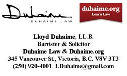 LLoyd Duhaime business card