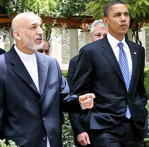 Karzai and Barack Obama