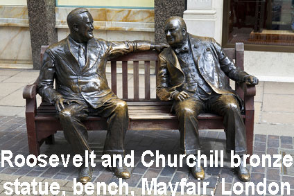 Roosevelt and Churchill bronze bench, Mayfair, London