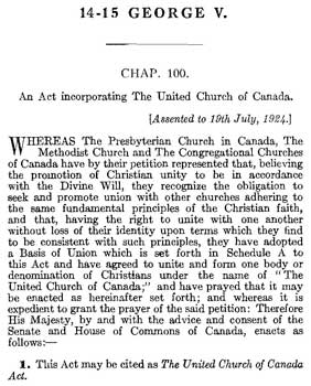 Incorporation of the United Church of Canada