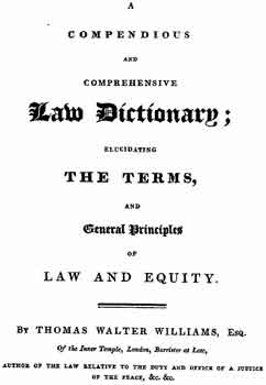 Williams 1816 law dictionary cover page