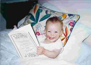 Child reading law book