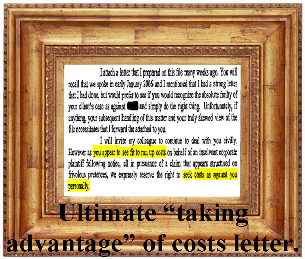 The ultimate taking advantage of costs letter
