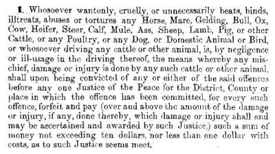 animal cruelty text circa 1867-69