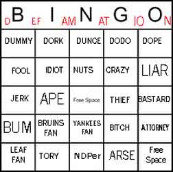 defamation bingo card