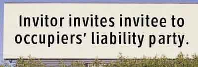 occupers liability board sign