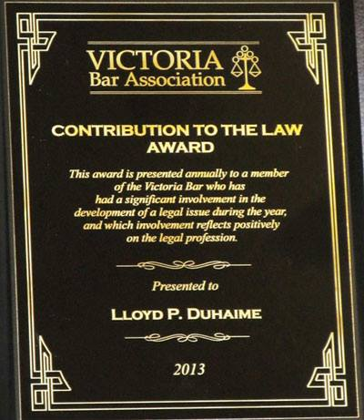2013 Victoria Bar Association Contribution to the Law Award Lloyd Duhaime